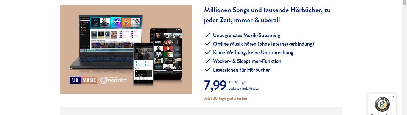 Aldi Music kostenlos testen