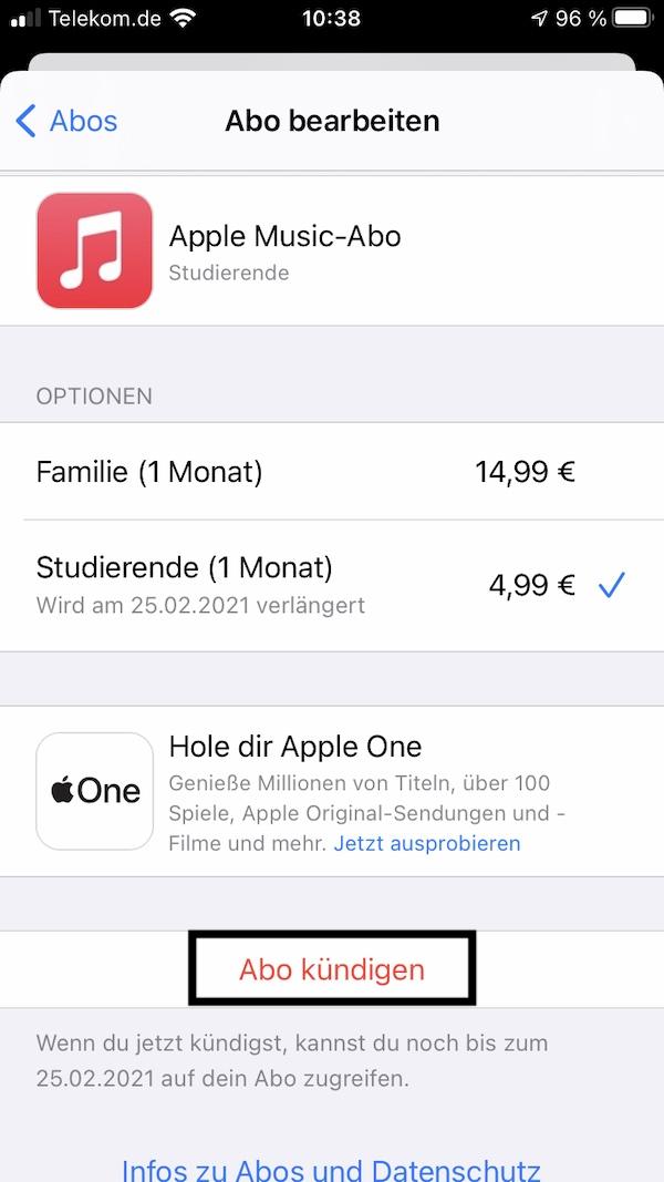 Apple Music kündigen