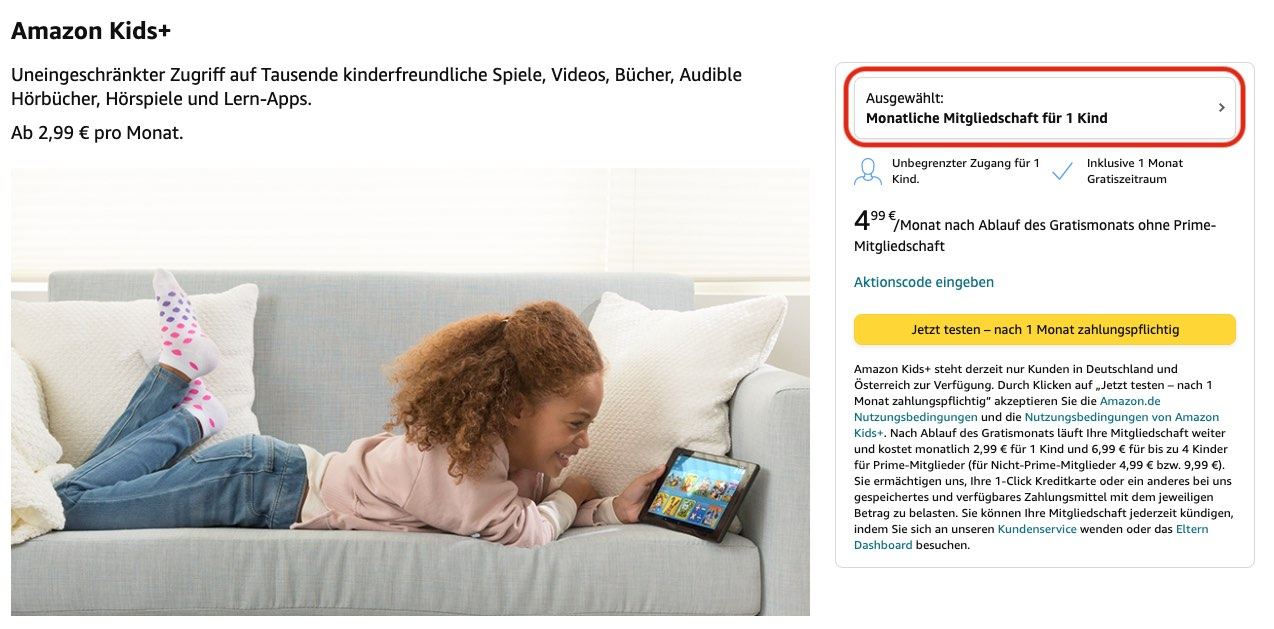 Amazon Kids+ kostenlos testen