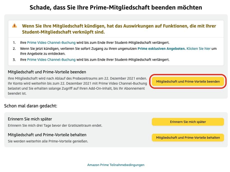 Amazon Prime Student kündigen 2
